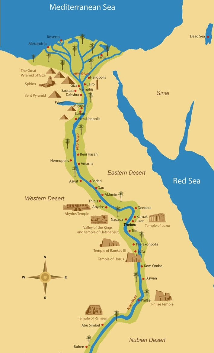 Map of the Nile in Ancient Egypt